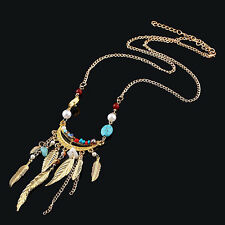 Women's Long Leaves Tassel Pearl Turquoise Beads Sweater Chain Necklace Sweet