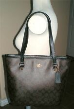 $295 Coach Signature Zip Top Tote Handbag Shoulder Bag F34603 100% Authentic
