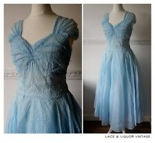 BEAUTIFUL vtg 1950s BABY BLUE SEERSUCKER WEDDING EVENING BALL GOWN DRESS 10