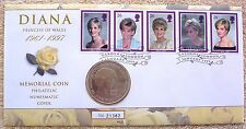 England 1999 Uncirculated Princess Diana 5 Pound Coin + Commemorative Stamps UK
