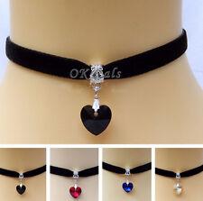 Mujer Gótico Collar Gargantilla Colgante Corazón Cristal Terciopelo Necklace