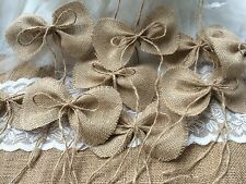 12 handmade primitive burlap bows wedding decor or Christmas tree bows ornaments