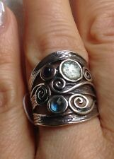 NWOT OR PAZ ROMAN GLASS GEMSTONE  STERLING SILVER  RING SZ 8.75 ISRAEL