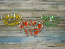 Very Rare Vintage FIRE KING DOTS BOWLS Green Yellow Orange Clear Cereal Bowls
