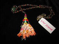 Betsey Johnson Calypso  skeleton girl long necklace