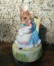 "1988 Schmid Beatrix Potter Rare Hunca Munca Music Box ""Rock A By Baby"" Mice"