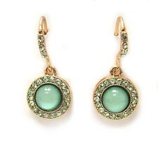 F2 Formal EARRINGS Round Green Acrylic Gold Plating Crystal NEW