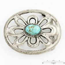 Vintage Navajo Native Indian Sterling Silver Pawn #8 Turquoise Belt Buckle!