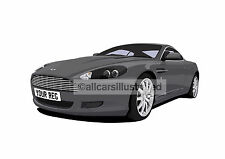 ASTON MARTIN DB9 CAR ART PRINT. CHOOSE YOUR COLOUR, ADD YOUR REG PLATE