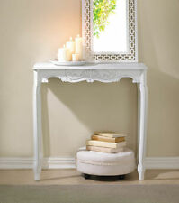 WHITE DISTRESSED SCALLOP DETAIL HALL TABLE ELEGANCE SHABBY CHIC~~15216