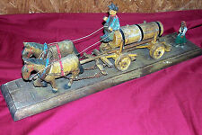 Antique Handmade Wooden Folk Art Toy Model Wagon Horses Vintage Wood Primitive