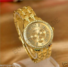 Geneva Chronograph Designer Style Ladies Women Rhinestone Gold Watch