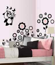 "Panda Bamboo Vinyl Wall Decal Sticker Black or White, 21"" X 13"""