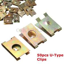 50Pcs Car Door Panel Screw U-Type Copper Metal Nuts Plate Clip Fastener 6mm Dia