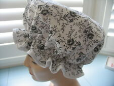 SHOWER CAP HAT   HANDMADE, WATERPROOF white with shabby chic black roses Cotton