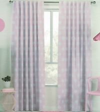PAIR PINK WITH WHITE POLKA DOTS BLOCKOUT CONCEALED TAB TOP CURTAINS 120CMX221CM