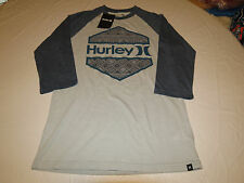 Hurley Men's 3/4 Sleeve t shirt tee L Wedged Premium Fit mtsswedm 01V