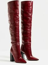ZARA AW 16 LEATHER HIGH HEEL BOOTS WITH WIDE LEG BURGUNDY SIZE UK 3 36 5007/101
