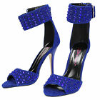 Dolcis Blue Diamante Stiletto High Heel Sandals Ankle Strap Peep Toe Shoes