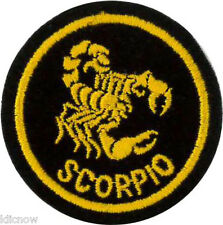 Scorpio Zodiac Horoscope embroidered Patch (Black/Gold) 5cm Dia