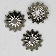 Bead Cap 8mm Solid Flat Floral Style Silvertone Pack of 100