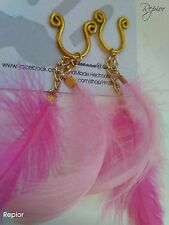 Pink Feather Nipple Ring Intimate Body Jewelry Non Piercing Clip on HandMade