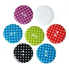 Pack of 50 Polka Dot/Spot Resin Round Mixed 30mm Buttons-BULK BUY