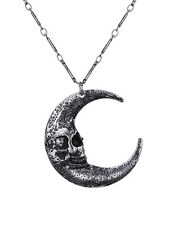 Skull Moon silver alloy pendant necklace luna occult goth alternative