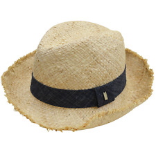 Marc By Marc Jacobs Natural/Denim Straw Panama Hat Summer Beach Cap
