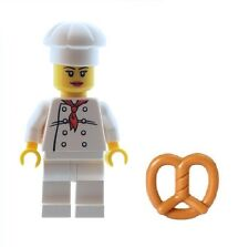 LEGO Female Chef Baker Minifig with Bagel / Bread, Food Town City NEW