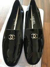 Chanel Black Patent Leather Loafers with Rhinestone CC Monogram Size 8