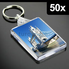 50x Premium Quality Clear Acrylic Blank Photo Keyrings Key Fobs 50 x 35 mm