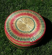 Vintage Raffia / Wicker Sewing Basket 16 Inch Diameter