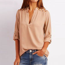 Women Summer Chiffon Solid Tab-Sleeve Hollow Out Blouse V Neck T-Shirt Top Shirt