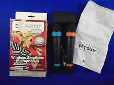 Ps3 WIRELESS PAIR OF SINGSTAR MICROPHONES Boxed Official 2 Mics USB Hub Receiver
