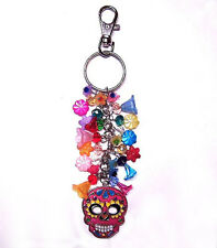 DIA DE LOS MUERTOS SUGAR SKULL DAY OF THE DEAD PURSE CLIP KEYCHAIN KEY FINDER