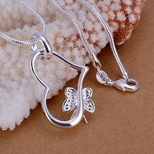 Women Fashion 925 Sterling Silver Chain Butterfly Heart Necklace With Pendant FU
