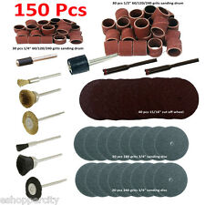 "150 Pc Rotary Power Tool Set 1/8"" Shank Sanding Polish for Craftsman Dremel 402"