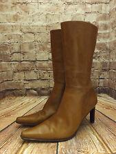 Ladies Dune Tan Leather Zip Fastening High Heel Mid Calf Boots EU 39