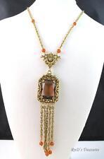 Vintage Signed GOLDETTE Topaz Glass & Orange Tassel Necklace