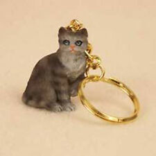 Silver Tabby Shorthair CAT Tiny One Resin Keychain Key Chain Ring