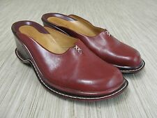 "Clarks Red Leather Clogs Women's Size US 9 M  3"" Heel Casual Shoes Mules Wedge"