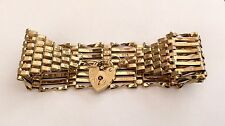 Most Stunning Very Wide Vintage 9ct Gold Gate Bracelet With Padlock 16.1 Gms