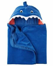 New Carter's Hooded Bath Towel Happy Fierce Shark Terry Material NWT Boy Blue