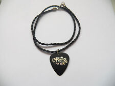 "THE RASMUS  guitar pick plectrum braided twist LEATHER NECKLACE 20"" BLACK"