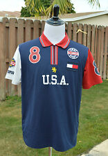 EUC Vintage Tommy Hilfiger Short Sleeve Polo Shirt Zip FLAG SPORT USA M / L Slim
