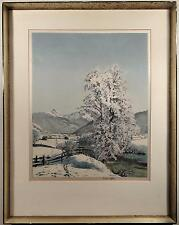 HANS FIGURA ORIGINAL SIGNED ETCHING ON SILK LANDSCAPE RAUHREIF AUSTRIAN ALPS