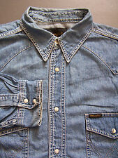 Wrangler Western Denim Shirt Men's Large XL Extra Blue Pearl Snaps Vtg LSHZ153