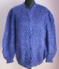 VTG Ladies Unbranded Purple Sparkly Mohair Mix Cardigan Size Extra Large