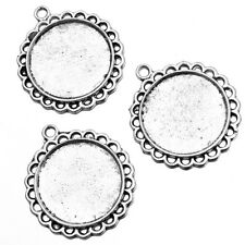 10pcs Round Photo Frame Antique Silver Alloy Pendants Charms Jewelry Making J